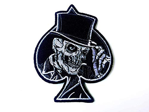 (Tyga_Thai Brand Top Hat Skull Spades Card Biker Motorcycle Costume Jacket Vest DIY Embroidered Large Sew on Iron on Patch (TOP-HAT-Skull-Card))