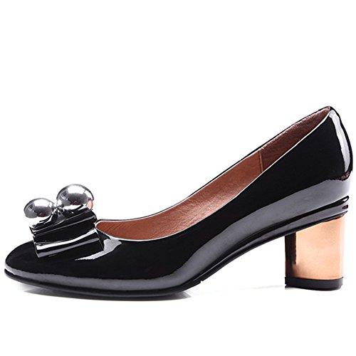 Nine Seven Cuero Moda Puntera Redonda Zapatos de Tacón Grueso con Lazo para Mujer negro