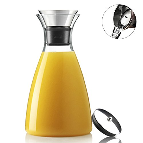 CNGX 35oz/1000ml Glass Drip-free Carafe with Stainless Steel Flip-top Lid, Hot and Cold Water Pitcher, Tea Coffee Maker , Iced Tea Beverage and Wine Pitcher (Play Water Pitcher compare prices)