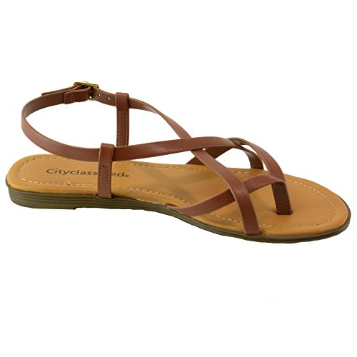 5fa4f6b1a82625 City Classified Womens Criss Cross Strappy Thong Slingback Gladiator Flat  Sandals outlet