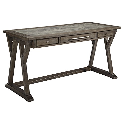 Ashley Furniture Signature Design - Luxenford Large Home Office Desk - Casual - 3 Drawers/Faux Bluestone Inset Top - Grayish Brown Finish - Brushed Nickel - Computer Desk Ashley