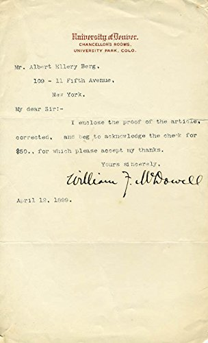 Bishop William F. Mcdowell Typed Letter Signed 04/12/1899