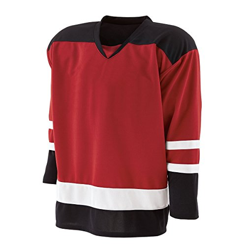 (Holloway Adult Faceoff Hockey Jersey Mens-Scarlet/Black/White Large)