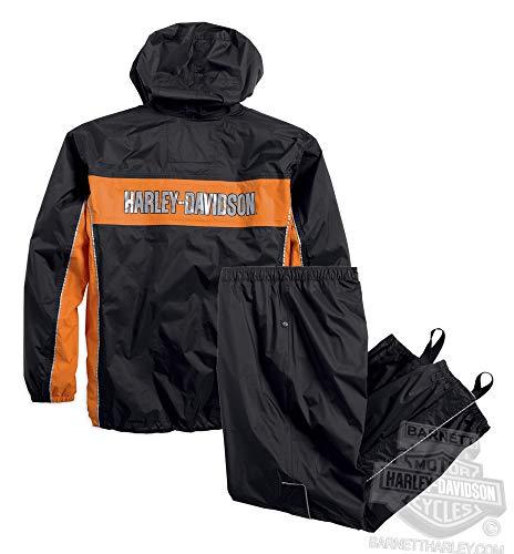 Harley-Davidson Mens Generations Reflective Waterproof Black Rain Suit ()