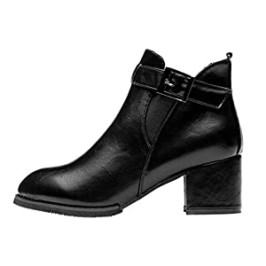 Desklets Womens Fashion Winter Winter Buckle Mid High Heels PU Leather Platform Boots(37 M EU/6.5 B(M) US, Black)