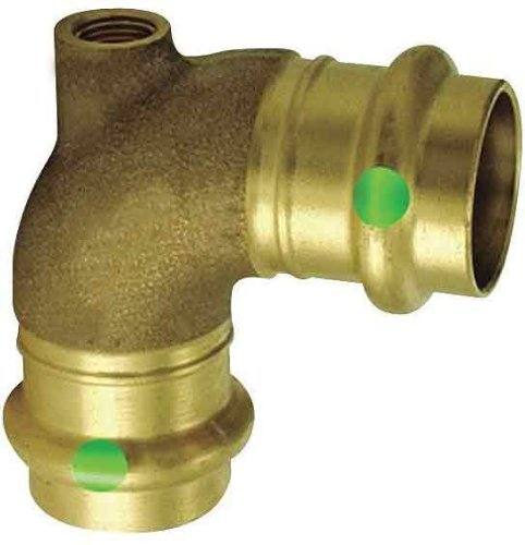 Viega 14578 ProPress Bronze Vent Tee with Female 3/4-Inch by 1/8-Inch by 3/4-Inch P x Female NPT x P