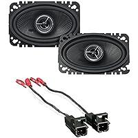 Kenwood KFC-X463C Excelon 4x6 2-Way Speaker System - Pair (Black) With Metra 72-4568 Speaker Harness for Selected General Motor Vehicles