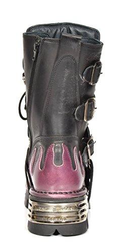 Rock Schnürsenkel Schwarz Lila Leder New Entwurf Rockstar Stil Flamme Stiefel Schuhe qICwd