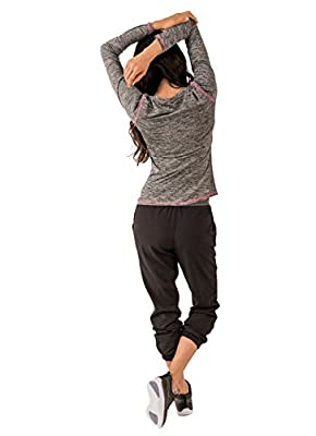 RBX Active Women's Long Sleeve Space Dye V-Neck Running Tee Shirt