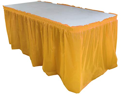 Exquisite Solid Color 14 Ft. Plastic Tablecloth Skirt, Disposable Plastic Tableskirts - Yellow - 6 Count (Table Skirt Burgundy)