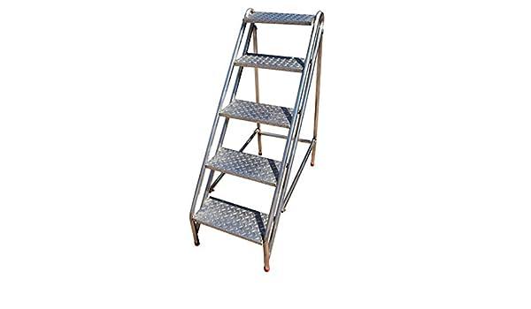 Escaleras Escalera Plegable Plegable Taburete de 5 Pasos para la fábrica o la Granja, Banco de escaleras multifuncionales Altas con Marco de Acero y Pedal de Madera, Altura de Subida 115 cm: