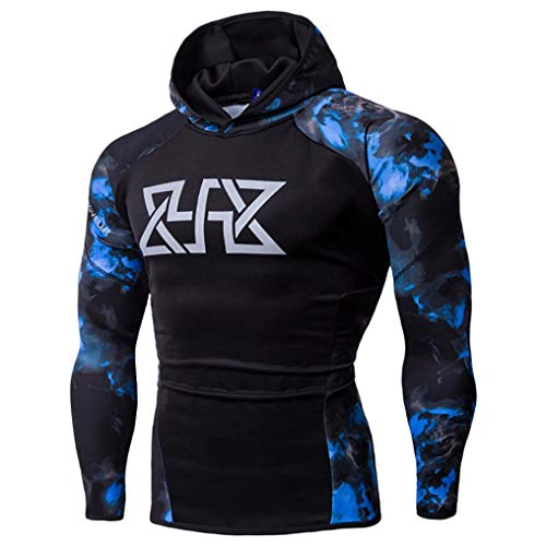 WUAI Clearance, Mens Hoodie Sweatshirts Camo Print Slim Fit Muscle Bodybuilding Sportswear Shirts Tops(Blue ,US Size L = Tag XL)