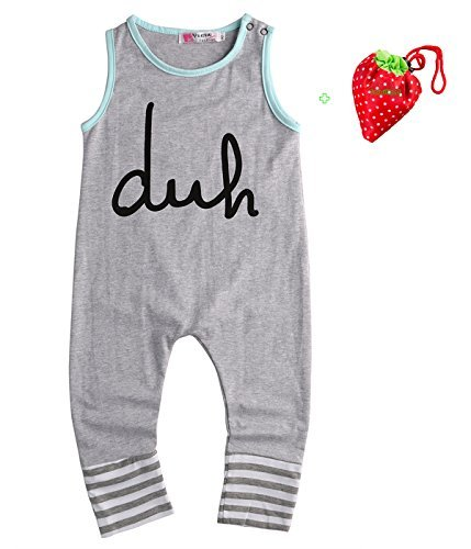 Newborn Kids Baby Boy Girls Siamese Lading Romper Jumpsuit Bodysuit Outfits Clothes , Gray, 6-12 Months