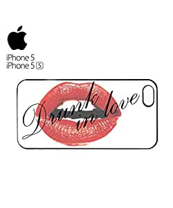 Drunk in Love Sexy Red Lips Mobile Cell Phone Case Cover iPhone 5&5s Black