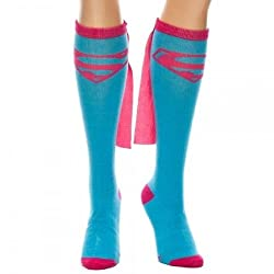 Dc Comics Supergirl Knee High Sock With Pink Cape