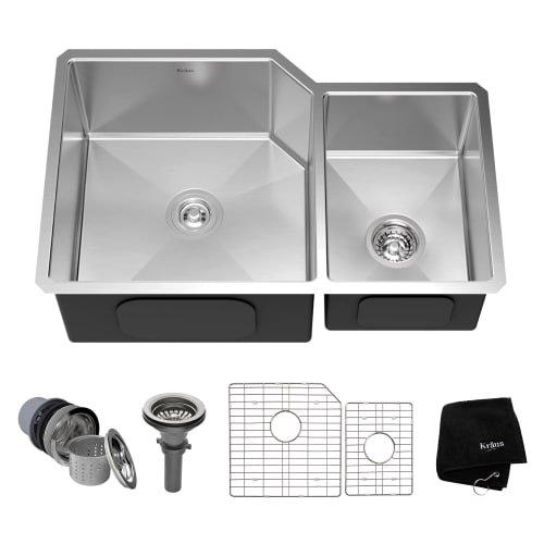 Kraus KHU123-32 32 inch Undermount 60/40 Double Bowl 16 gauge Stainless Steel Kitchen Sink