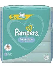 Pampers Fresh Clean chusteczki nawilżające dla niemowląt, 260 chusteczek (5 x 52), o świeżym zapachu, dermatologiczny, pierwsze wyposażenie dla noworodków