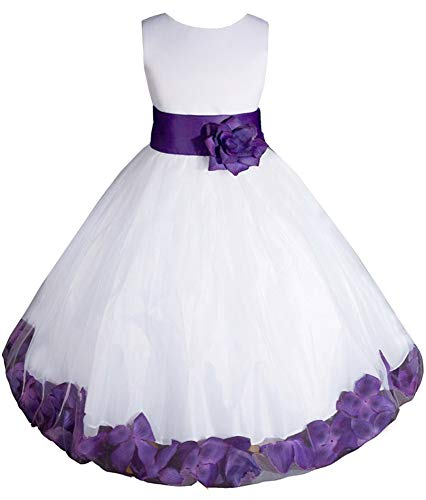 AMJ Dresses Inc Little-Girls' White/Purple Flower Girl Dress E1008 Sz 4