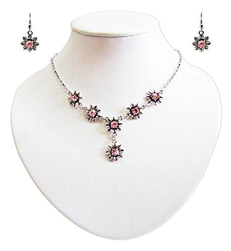 Blumen Collier mit Ohrhängern Rosé - Zauberhafte Schmuck Sets bestehend aus Halskette und Ohrringen