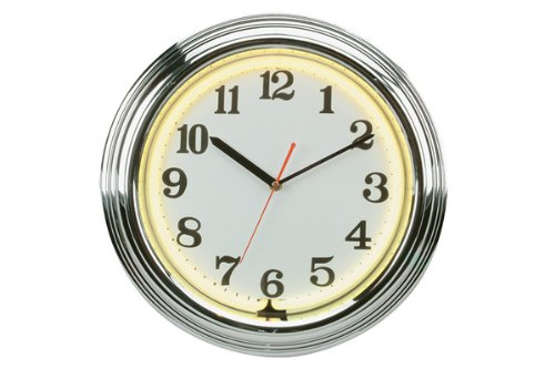 CHH 8145YW 14 Inch Flashing Neon Wall Clock with Chrome Border - Yellow and - Clock Neon Yellow