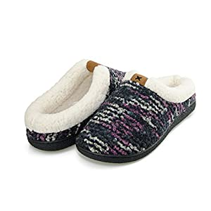 Moxo Women's Wool Plush Fleece Lined Bedroom Slippers