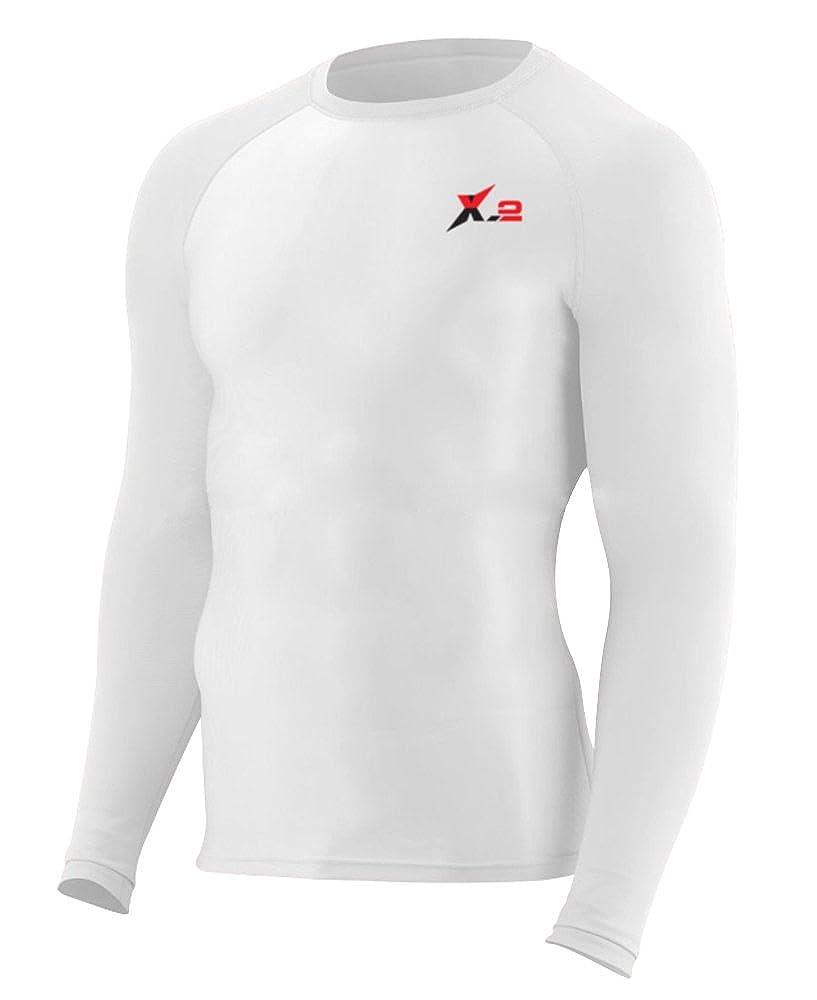 X-2 Men's Long Sleeve Rash Guard UV Protection Base Layer Compression Shirt