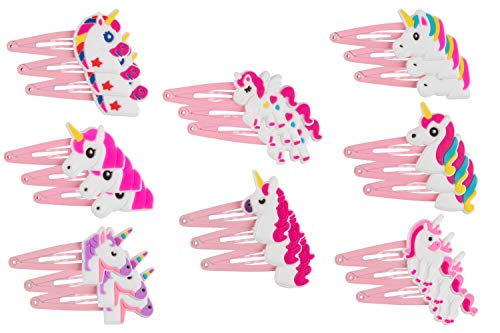 Rainbow Unicorn Hair Clips - 24-Pack Anti-Slip Snap Hairclips for Girls, Assorted Pink Unicorn-Themed Barrette Hair Pins, Ideal for Birthday Party Supplies Favors, Game Prizes ()