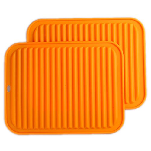 "Silicone Trivets Mat Set of 2 Smithcraft 9""X12"" Big Multi-purpose Drying Trivet Mat, Pot Holder, Waterproof, Non Slip, Flexible, Durable, Dishwasher Safe Orange"