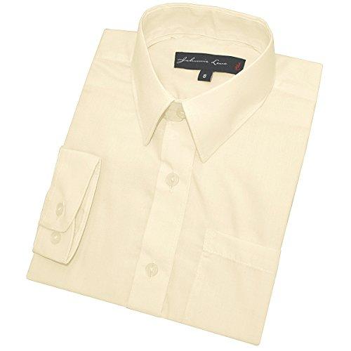 Little Boy's Long Sleeves Solid Dress Shirt #JL32 (6, Ivory)