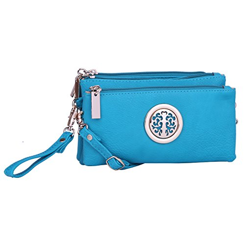 Collection Leather Small Messenger (MKF Collection Handbags ~ Crossbody Bag ~ Wristlet ~ Crossbody Purse ~ Multiple Pocket Cross Body Bag ~ Designer Crossbody Bag ~ Natashe 3-in-1 Cross-Body Bag & Wristlet By MKF Crossbody Bag (Turquoise))