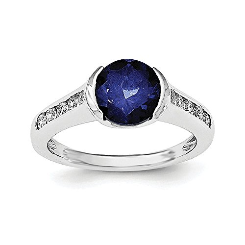 Sterling Silver Synthetic Blue Sapphire and Cubic Zirconia Bezel Ring - Size 7 ()