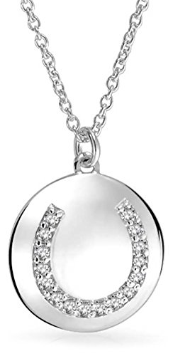 Cubic Zirconia Round Disc Good Luck Horseshoe Pendant Necklace For Women For Graduation 925 Sterling Silver