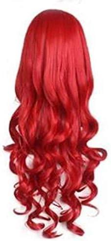 Peluca sintética Sirena Ariel peluca roja larga 80 cm estilo ...