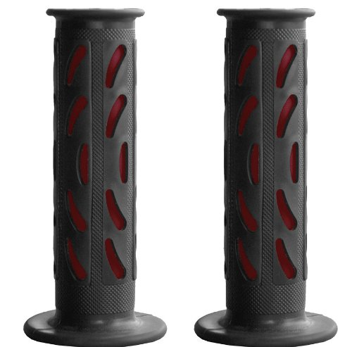 "Yana Shiki GRP-4085-RED Rubber Slip-on Sport Bike Grips for 7/8"" Handle Bars"