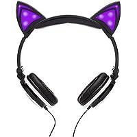 SoundBeast Cat Ear Headphones with Glowing Lights (Purple)