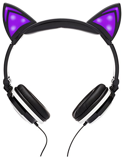 (SoundBeast Cat Ear Headphones with Glowing Lights (Purple))