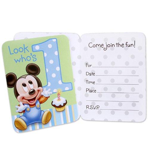 Hallmark Mickey's 1st Birthday Invitations - 8 ct