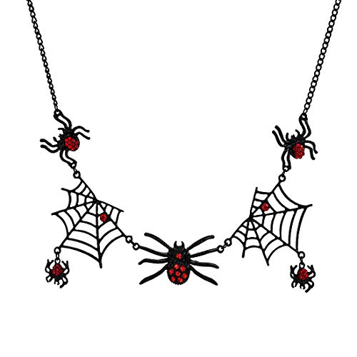 - PHALIN JEWELRY Halloween Spider Web Necklace Party Large Black Spider Choker Pendant Necklace for Women Girls (Black)