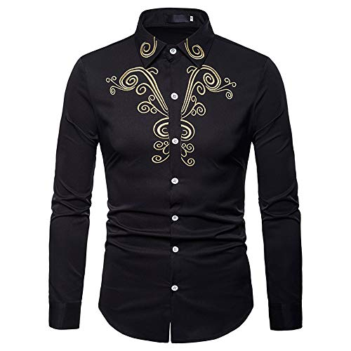 (Hot Zlolia Men's Long Sleeve Luxury Casual Gold Embroidery Shirt Autumn Winter Top Blouse)