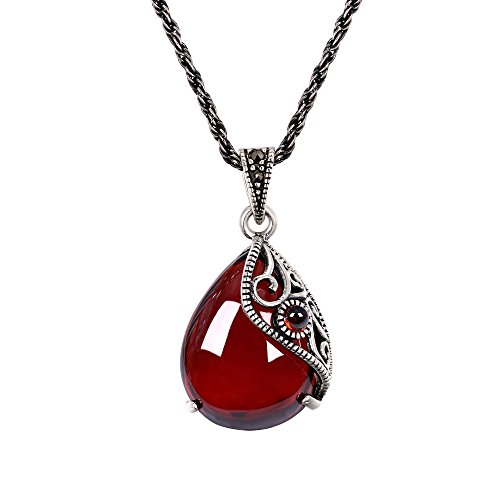 EVER FAITH 925 Sterling Silver Crystal Red Corundum Crystal Retro Filigree Vine Teardrop Pendant ()