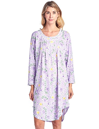 Casual Nights Women's Floral Pintucked Long Sleeve Nightgown - Purple - ()