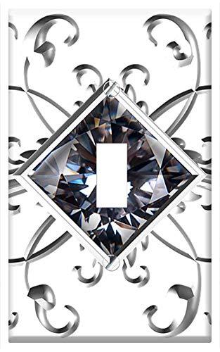Switch Plate Single Toggle - Silver Square Gem Ornament White White-Metal Iron