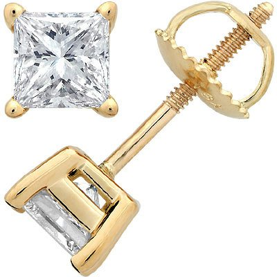 square round diamond white earrings screw back stud shaped zoom o gold