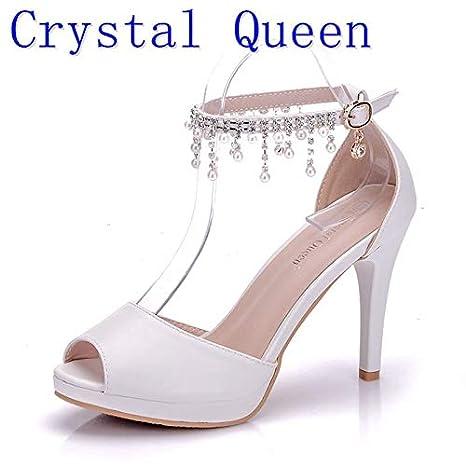 db2b0da8f35c1 Amazon.com: HuWang Summer Women Wedding Shoes Tassel Wind Buckle ...
