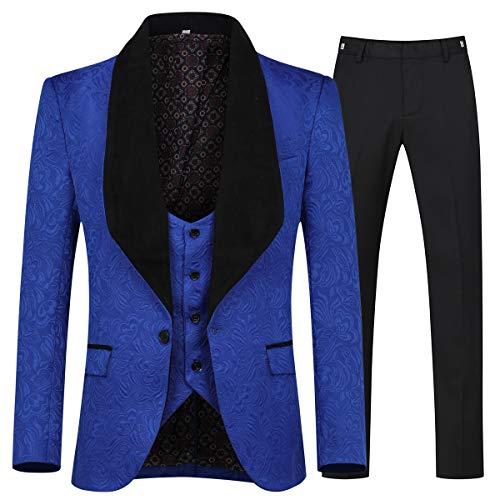 YFFUSHI Men's 3 Piece Suit Slim Fit Jacquard Tuxedo One Button Shawl Collar Jacket Vest & Trousers Blue