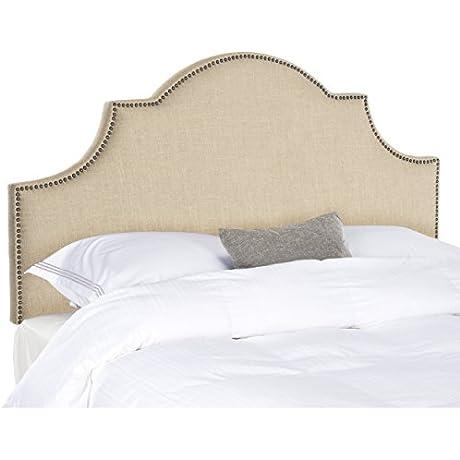 Safavieh Hallmar Hemp Linen Upholstered Arched Headboard Brass Nailhead Queen