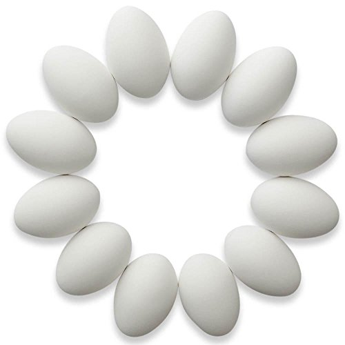 (BestPysanky Set of 12 White Blank Ceramic Easter Eggs 3.25 Inches)