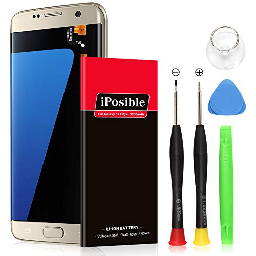 Galaxy S7 Edge Battery | Upgraded iPosible 3800mAh Li-Polymer Battery EB-BG935ABE Replacement for Samsung Galaxy S7 Edge G935V G935A G935T G935P G935F with Free Screwdriver Tool