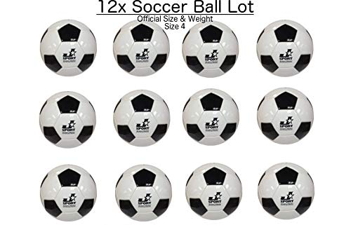 Jsport (Lot of 12) Soccer Balls Size 4 Bulk Wholesale