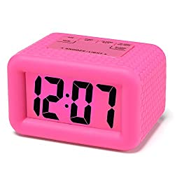 Easy Setting, Plumeet Digital Alarm Clock with Snooze and Nightlight Function, Large LCD Display Travel Alarm Clock Easy to Use, Ascending Sound Alarm & Handheld Sized, Batteries Powered (Hot Pink)